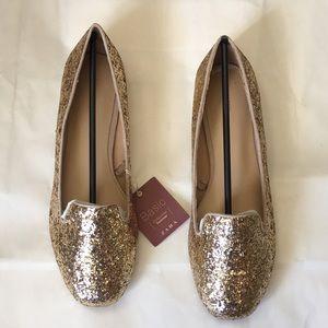 Zara Gold Glitter Moccasin Flats, 38/ 7.5